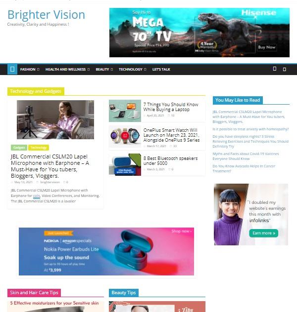 Brighter vision website image